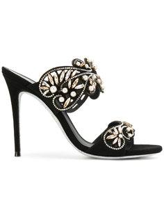босоножки с открытым носком с украшением из кристаллов René Caovilla