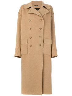 длинное двубортное пальто R13