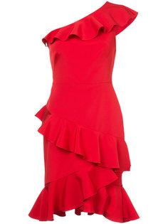 платье на одно плечо с рюшами Marchesa Notte