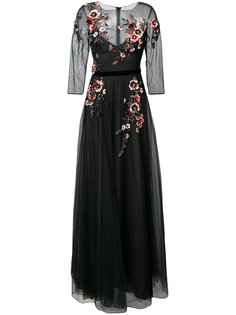 вечернее платье с вышитыми цветами Marchesa Notte