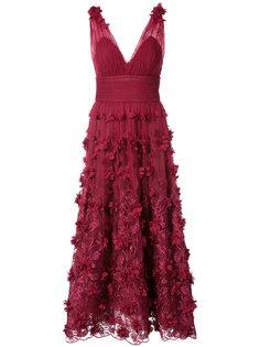 длинное платье с вышивкой и цветочным узором Marchesa Notte
