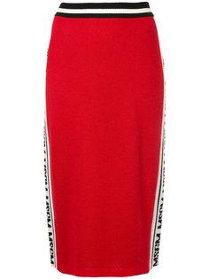 приталенная юбка с полосками с логотипом по бокам MSGM