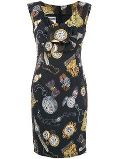 платье с принтом часов  Moschino