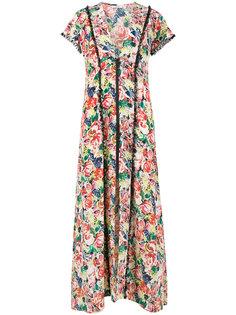 платье макси с цветочным принтом на молнии  Ganni