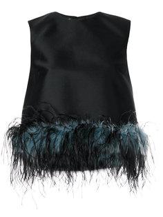 блузка без рукавов с отделкой перьями  Prada