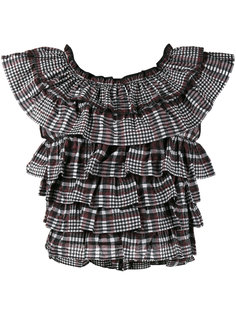 блузка в клетку с оборками Charron Ganni
