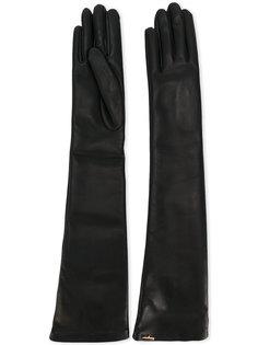 длинные кожаные перчатки Salvatore Ferragamo