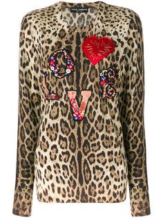 джемпер с леопардовым принтом и аппликацией  Dolce & Gabbana