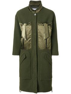 пальто с атласными карманами  Moschino