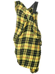 платье в шотландскую клетку со сборкой Junya Watanabe Comme Des Garçons