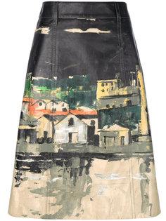 юбка с принтом деревни Prada