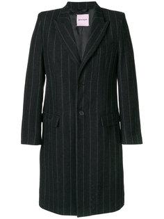 однобортное пальто в полоску Palm Angels