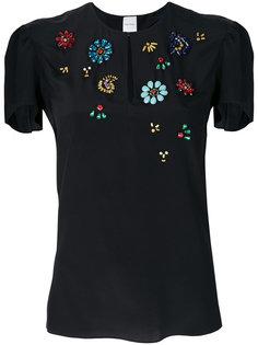 блузка с отделкой кристаллами  Paul Smith