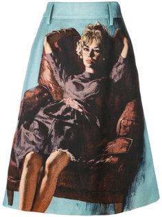 юбка миди с вышивкой  Prada
