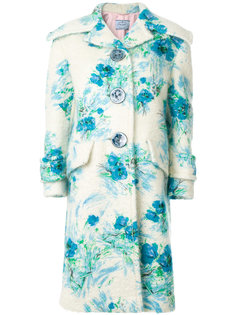 пальто с цветочной вышивкой  Prada