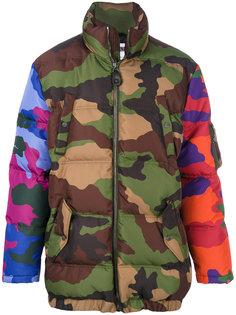 стеганое пальто с камуфляжным принтом Moschino