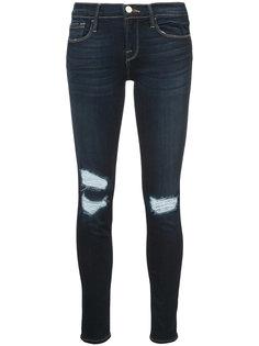 джинсы скинни с рваной отделкой  Frame Denim