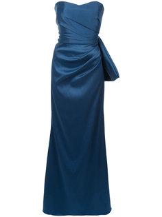 драпированное длинное платье   Badgley Mischka