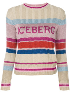 свитер с логотипом и полосками  Iceberg