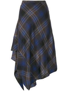 асимметричная юбка в клетку  Etro