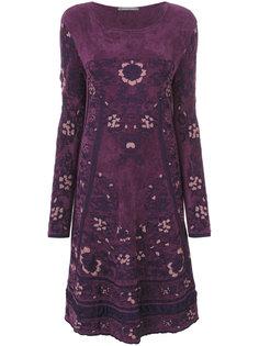 платье с узором и длинными рукавами  Alberta Ferretti