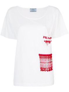 футболка с бисерной отделкой  Prada