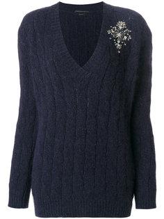 свитер с V-образным вырезом и аппликацией  Ermanno Scervino