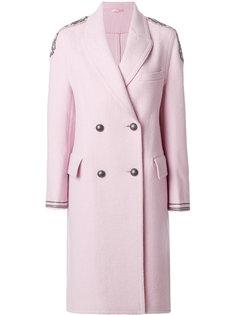 двубортное пальто с отделкой на плече  Ermanno Scervino