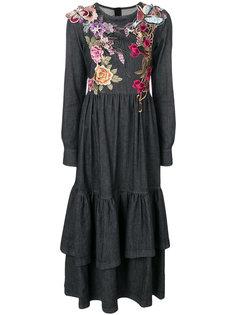 платье с вышитыми цветами, бабочкой и птицей Antonio Marras