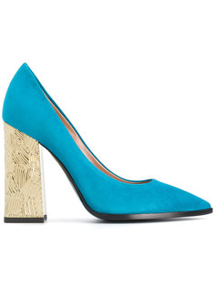 туфли-лодочки на контрастном каблуке Pollini