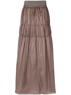 длинная многоярусная юбка из парашютной ткани Maison Margiela