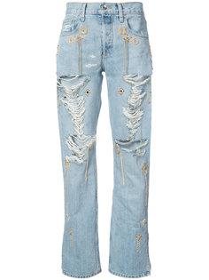 джинсы с потертой отделкой Jonathan Simkhai
