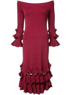 платье с рюшами и открытыми плечами Jonathan Simkhai