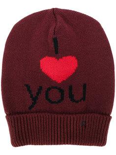 вязаная шапка с вышивкой I Love You Raf Simons