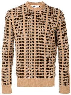 джемпер вязки интарсия с логотипом MSGM