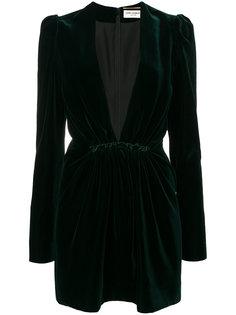 бархатное платье с глубоким вырезом  Saint Laurent