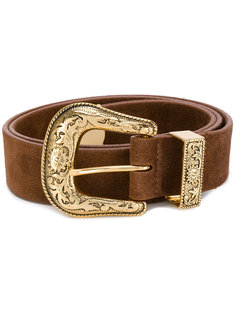 ремень с золотистой пряжкой B-Low The Belt