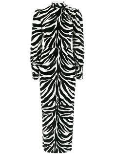 платье с высокой горловиной и зебровым узором Alessandra Rich