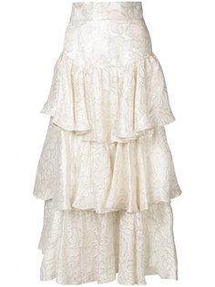 юбка с оборками и золотистой отделкой  Bambah