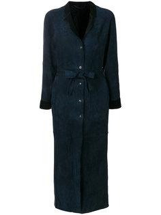 длинное пальто с поясом  Giorgio Brato