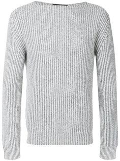 свитер с вырезом-лодочка с ребристой фактурой Ermenegildo Zegna