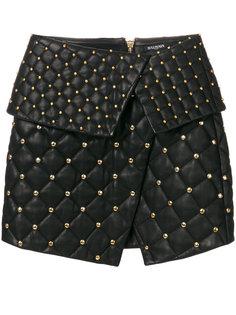 стеганая асимметричная юбка  Balmain