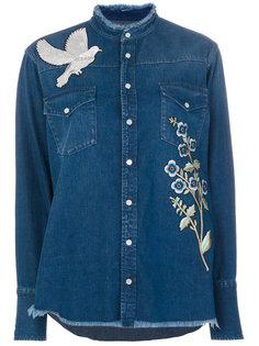 джинсовая рубашка с вышивкой  Alexander McQueen