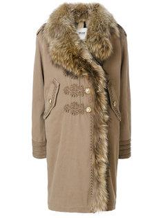 пальто с мехом и вышивкой  Bazar Deluxe