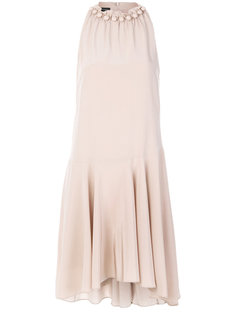 расклешенное платье с воротником с бусинами Emporio Armani