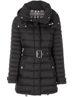стеганое пальто с поясом Burberry