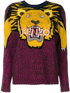 свитер вязки интарсия с изображением тигра Kenzo