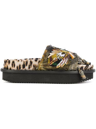 декорированные сандалии на платформе с леопардовым принтом Antonio Marras
