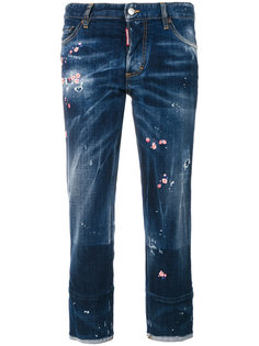 джинсы с цветочной вышивкой  Dsquared2