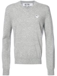 пуловер с V-образным вырезом и вышивкой сердца Comme Des Garçons Play